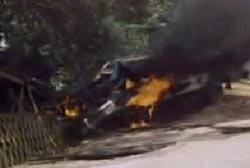 A car engulfed in flames