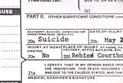 Autopsy report that reads 'Suicide'