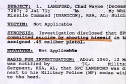 A military report that reads 'commited suicide by shooting himself