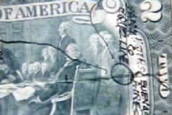 A map drawn in black ink on the back side of a $2 bill