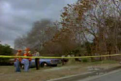Police investigators at the scene of the suicide/murder thats walled off by yellow crime tape