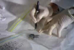 An invesitgator writting on a clearn bag containing Brocks' keys