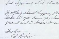 A letter wiritten by Ed Baker that can be read as a suicide note