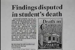 News article titled 'Findings disputed in student's death'