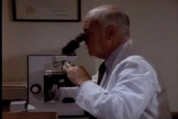 Dr. Wecht reviewing the autopsy slides using a microscope