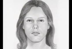 Police sketch of a caucasian female with light brown hair
