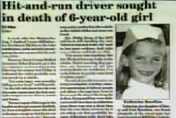 "News article with the title ""Hit-and-run driver sought in death of 6-year-old girl"""