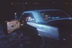 Kurt's abandoned car at night