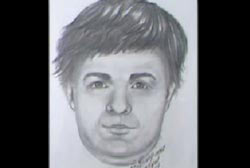 Police sketch of the hitchhiker, a caucasian man with medium length hair