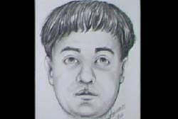 Police sketch of the hitchhiker, a caucasian man with a bowl haircut