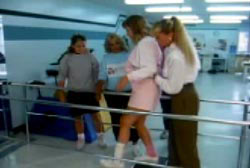 Jenny attempting to walk during a physical training session