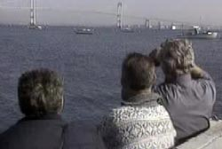 investigators searching the waters around the Newport Bridge in rhode island