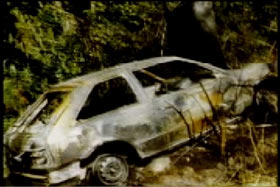 Burnt remains of a car in the middle of the forrest