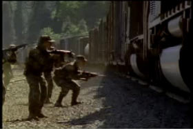 """S.W.A.T. Team checking a passing freight train for signs of """"El Loco"""""""
