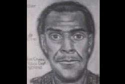Police sketch of African American male with dark hair and mustache
