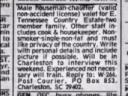 A classified ad Tondevold made for a chauffeur in the local newspaper