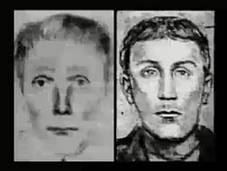 Two police sketches of a caucasian man with a long face and light hair