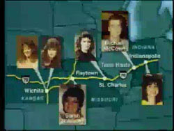 Map of the I-70 highway with photos of the 6 victims of murder