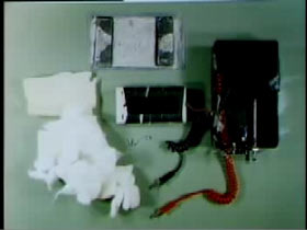Fake bomb seperated into its individual pieces