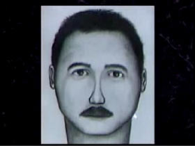 Police Sketch of a Caucasian man with dark hair light eyes and a mustache