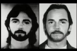 Left: Richard Bare with long hair and beard, Right: Richard Bare with medium hair and mustache