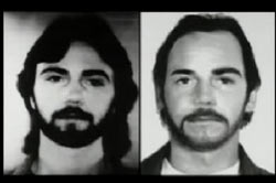 Left: Richard Bare with long hair and beard, Right: Richard Bare with medium hair and mustache