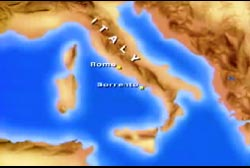Map of italy with points of interest on Rome and Sorrento